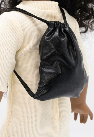 SHINY BLACK DRAWSTRING BAG