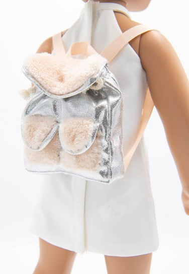 SILVER FURRY PEACH BACKPACK