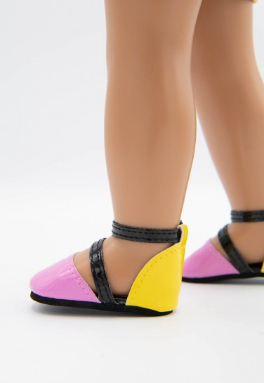 PINK YELLOW GLOSS SHOES