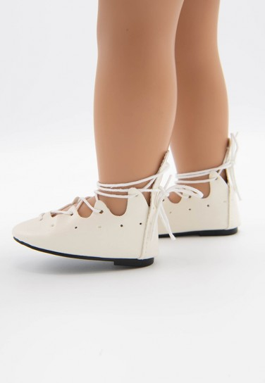 WHITE TIE FLAT SHOES