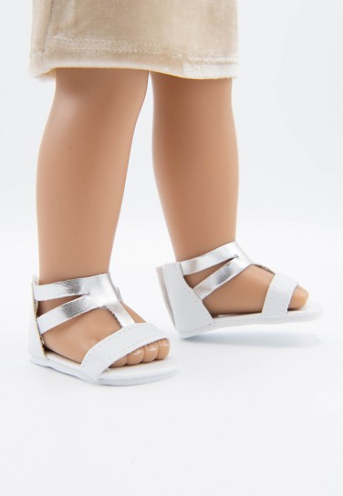 WHITE SHINY SILVER SANDALS