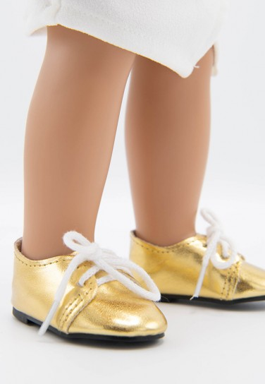 GOLD SHOES WITH WHITE LACES