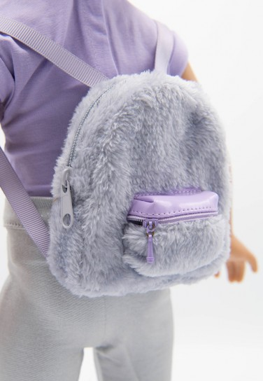 GREY FUR BACKPACK